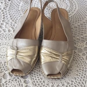 Leather wedges shoes